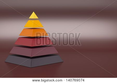 Conceptual six layers hierarchy pyramid 3D illustration