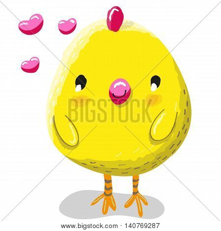 Cute chicken with hearts on a white background