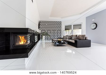 Living Room With A Fireplace Idea