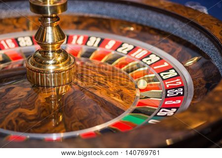 casino roulette wheel in natural light situation
