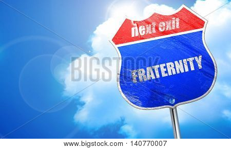 fraternity, 3D rendering, blue street sign