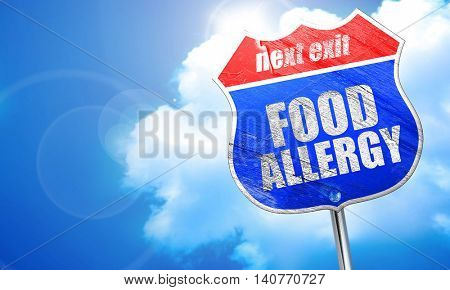 food allergy, 3D rendering, blue street sign