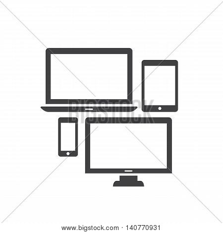 Electronic gadgets and devices icons. Computer monitor, laptop, tablet and smartphone. Flat style vector illustration