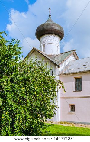 Church of Simeon the God Receiver in Zverin Pokrovsky Monastery Veliky Novgorod Russia - facade view