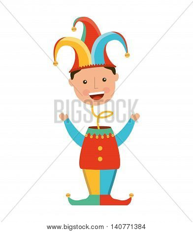 funny fool jester character icon vector illustration design