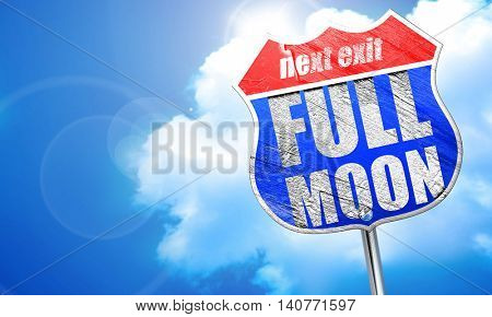 full moon, 3D rendering, blue street sign