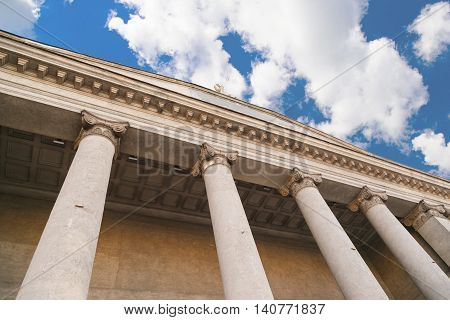 classical pillar on blue sky background Greek architecture