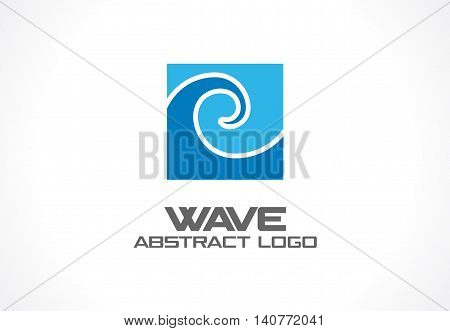 Abstract logo for business company. Corporate identity design element. Eco ocean, nature, whirlpool, spa, aqua swirl Logotype idea. Water wave, spiral, blue sea concept. Colorful Vector icon