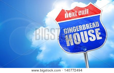 gingerbread house, 3D rendering, blue street sign