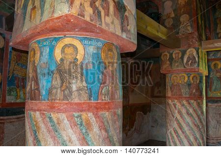 VELIKY NOVGOROD RUSSIA-JULY 29 2016. Decorative architecture elements and paintings with Bible scenes in the interior of Church of Simeon the God Receiver in Zverin Monastery. Soft filter applied