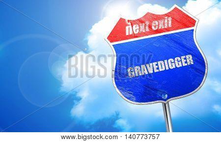 gravedigger, 3D rendering, blue street sign