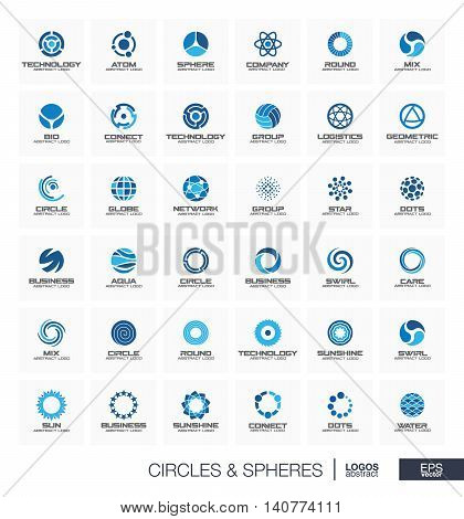 Abstract geometric logo set for business company. Corporate identity design elements. Orbit, atom, roll wheel, segment connect concept. Radius, Sphere, Circle, Globe logotype collection. Vector icons