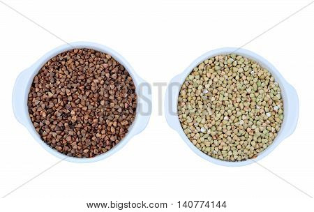 Buckwheat in bowls on white background closeup