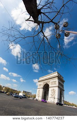 Triumphal arch in Champs Elysees boulevard - Paris
