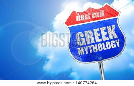 greek mythology, 3D rendering, blue street sign