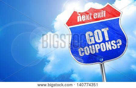 got coupons?, 3D rendering, blue street sign