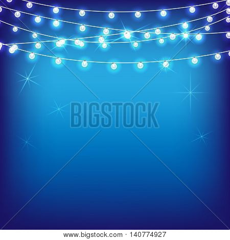 Vector set of Marry Christmas and other holidays garlands star light on transparent blue background. Electric lighting for greetings.