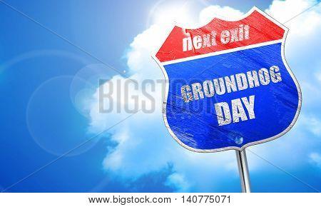 groundhog day, 3D rendering, blue street sign