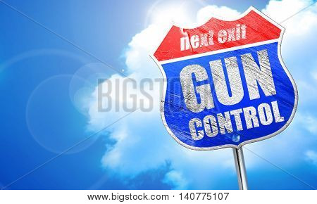 gun control, 3D rendering, blue street sign