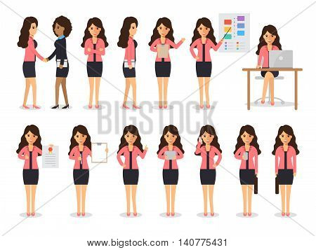 Set of working people on white background. Businesswoman with gadgets in flat design people characters.