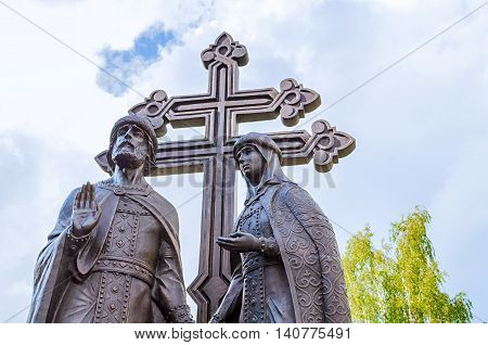 VELIKY NOVGOROD RUSSIA - JULY 29 2016. Monument to saints Peter and Fevronia - the patrons of marriage and family as well as the symbols of love and fidelity.
