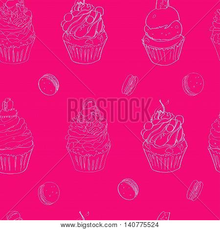 illustration with the image of cakes. pattern made white outline on a bright pink background