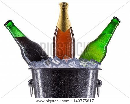 Metal champagne ice bucket with set of beer isolated on a white background.