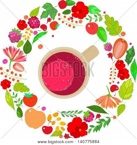 Illustration of red tea cups on top in a frame of leaves, berries and flowers of red, orange and green colors on a white background