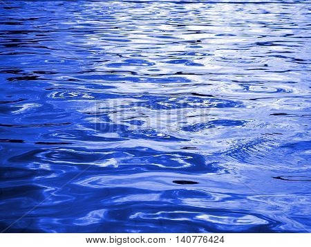 reflection of light on the waves, blue water and light from the sun in pool ,water level ,blue abstract background