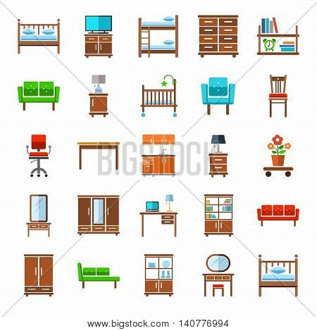 Furniture, icons, colored. Vector icons of modern furniture for home and office. A color image on a white background. A flat image.