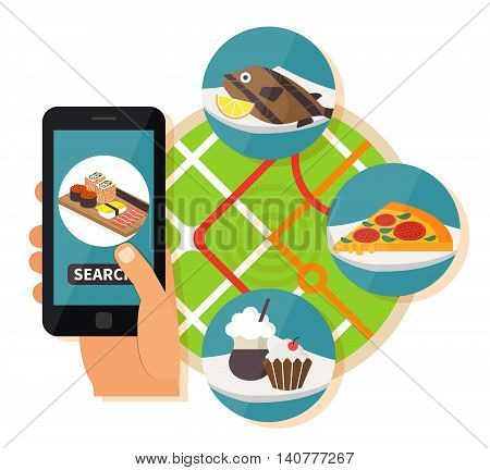 Online restaurant search. Navigation mobile technologies, online food order. Vector illustration