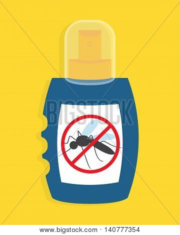 Mosquito free spray. Insects repellent vector bottle