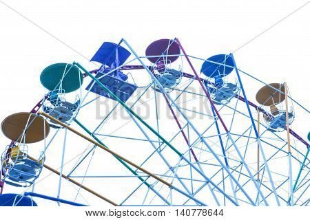 Ferris wheel on white background, amusement park