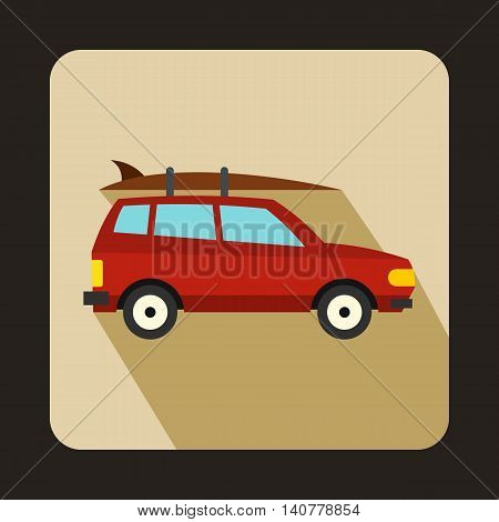 Car with luggage icon in flat style with long shadow. Transport symbol