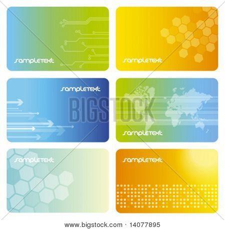 Conjunto de coloridas tarjetas de visita
