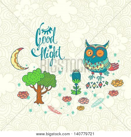 Good night. vector illustration with owl. cute cartoon character on forest glade with tree and moon