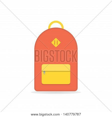 Orange backpack. School backpack. Backpack isolated on white background