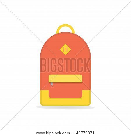School backpack. Orange backpack. Backpack isolated on white background