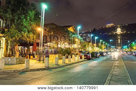 The evening is the best time to visit one of the local cafes in German Colony and enjoy the Jewish or Arab cuisine Haifa Israel.