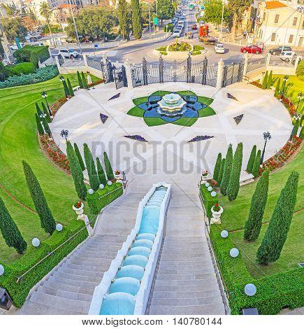 Bahai Gardens are one of the most popular city landmarks Haifa Israel.