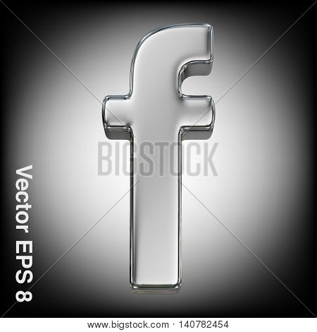 Vector letter f from metal alphabet. Lovercase metal font collection. EPS 8