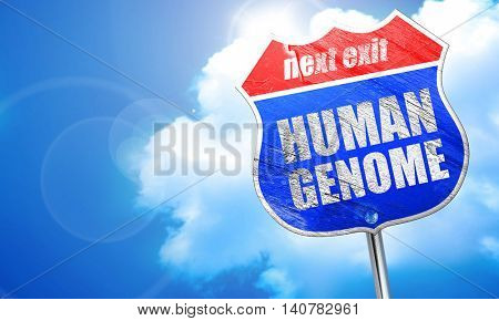 human genome, 3D rendering, blue street sign