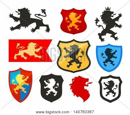 Shield with lion, heraldry vector logo. Coat of arms icon