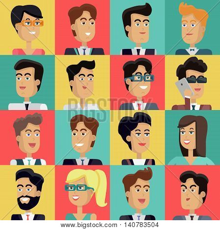 Set of peoples faces vector in flat style. Collection of business characters heads on different colors background. Illustrations for corporate avatars, app icons, infographics, logotype design.