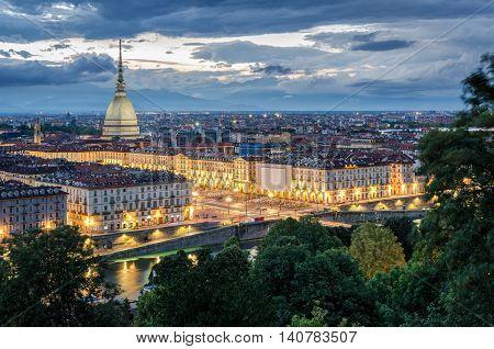 Torino panorama at twilight with Mole Antonelliana