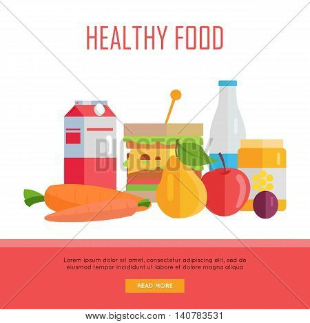 Healthy food concept web banner. Vector in flat design. Illustration of various food milk, honey, cheeseburger, fruits and vegetables on white background for cafe, stores, farm web pages design.