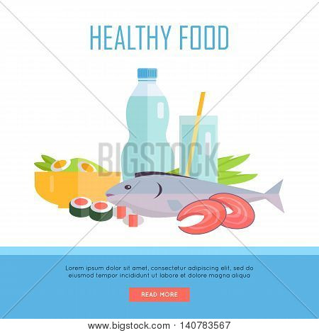 Healthy food concept web banner. Vector in flat design. Illustration of various food and drinks water, salmon fish steak, sushi, salad on white background for cafe, stores, gym web pages design.