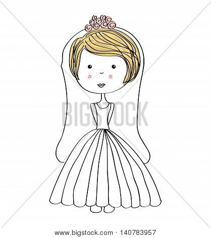 just married girl drawn icon vector illustration design
