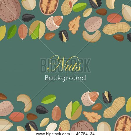 Nuts background concept vector in flat design. Walnut, cashew, pistachio, peanut, almond, sunflower, pumpkin, flax illustrations for wallpaper, polygraphy, textiles web page design surface textures