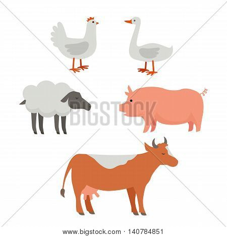 Set of domestic animals illustrations. Vector in flat style design. Country inhabitants concept. Picture for farming, animal husbandry, milk, meat and wool production companies. Isolated on white.